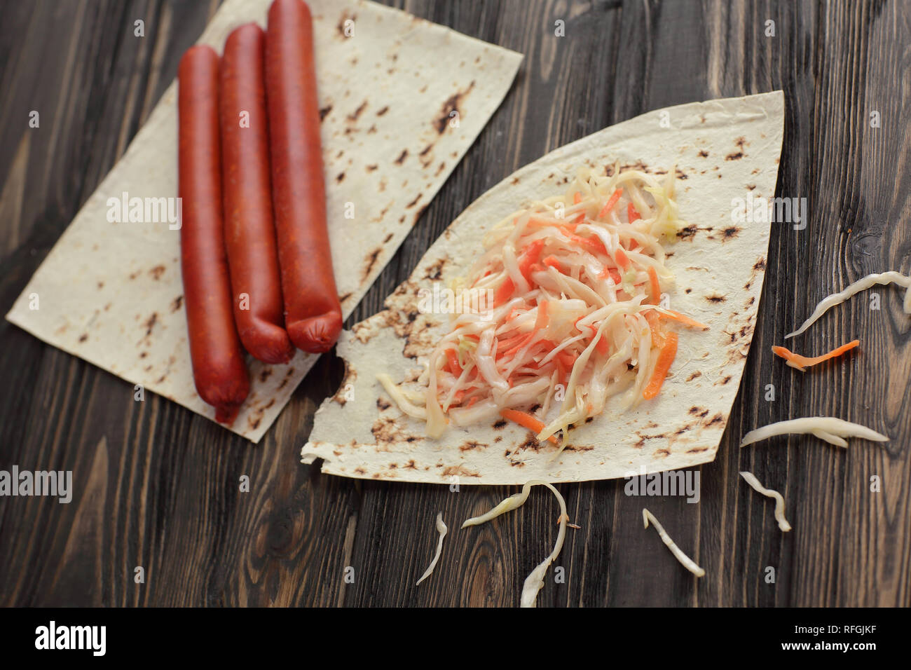 homemade sausage, pita bread and pickled cabbage for making Shawarma - Stock Image