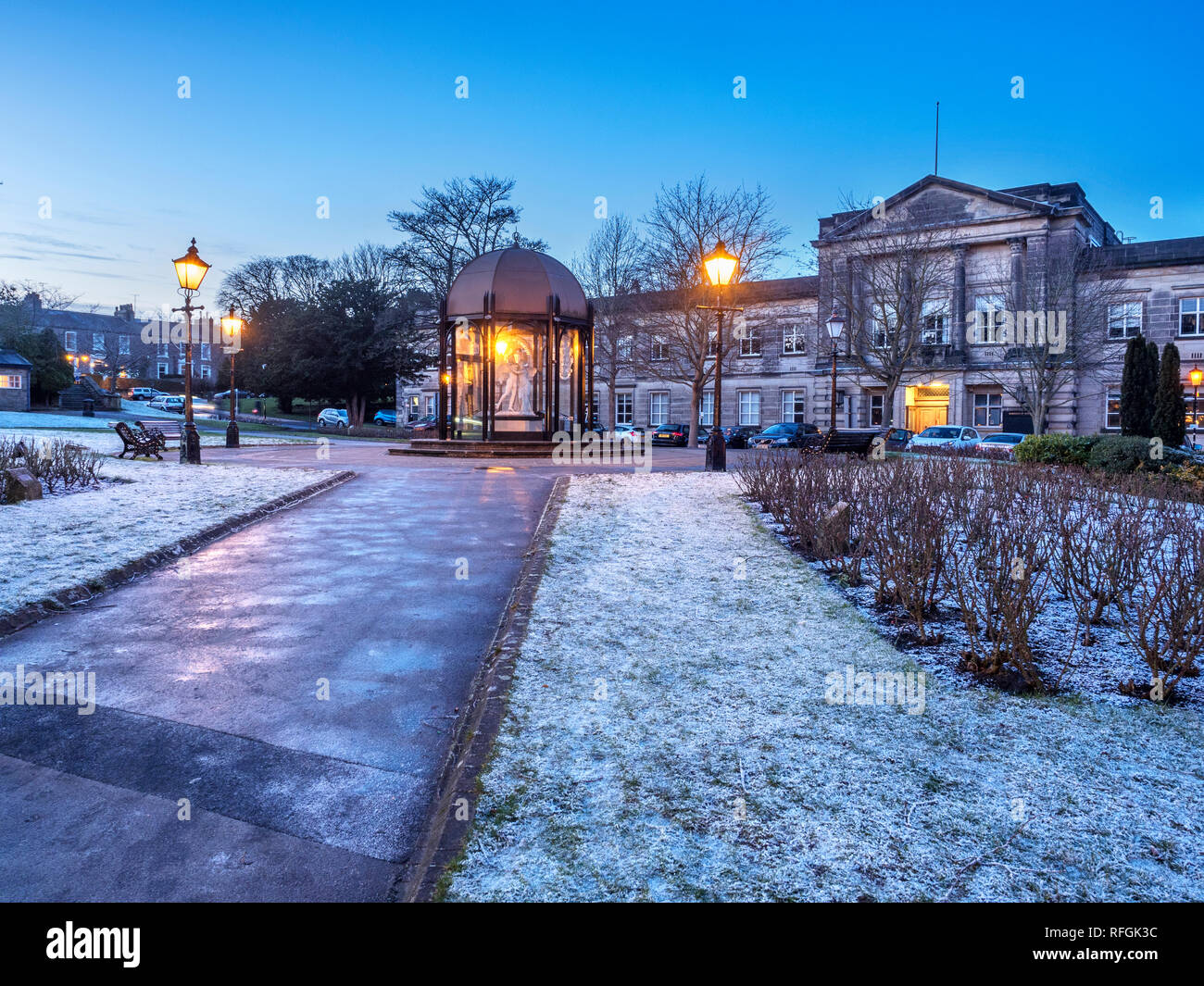 Crescent Gardens and former Council Officesat dusk in winter Harrogate North Yorkshire England Stock Photo