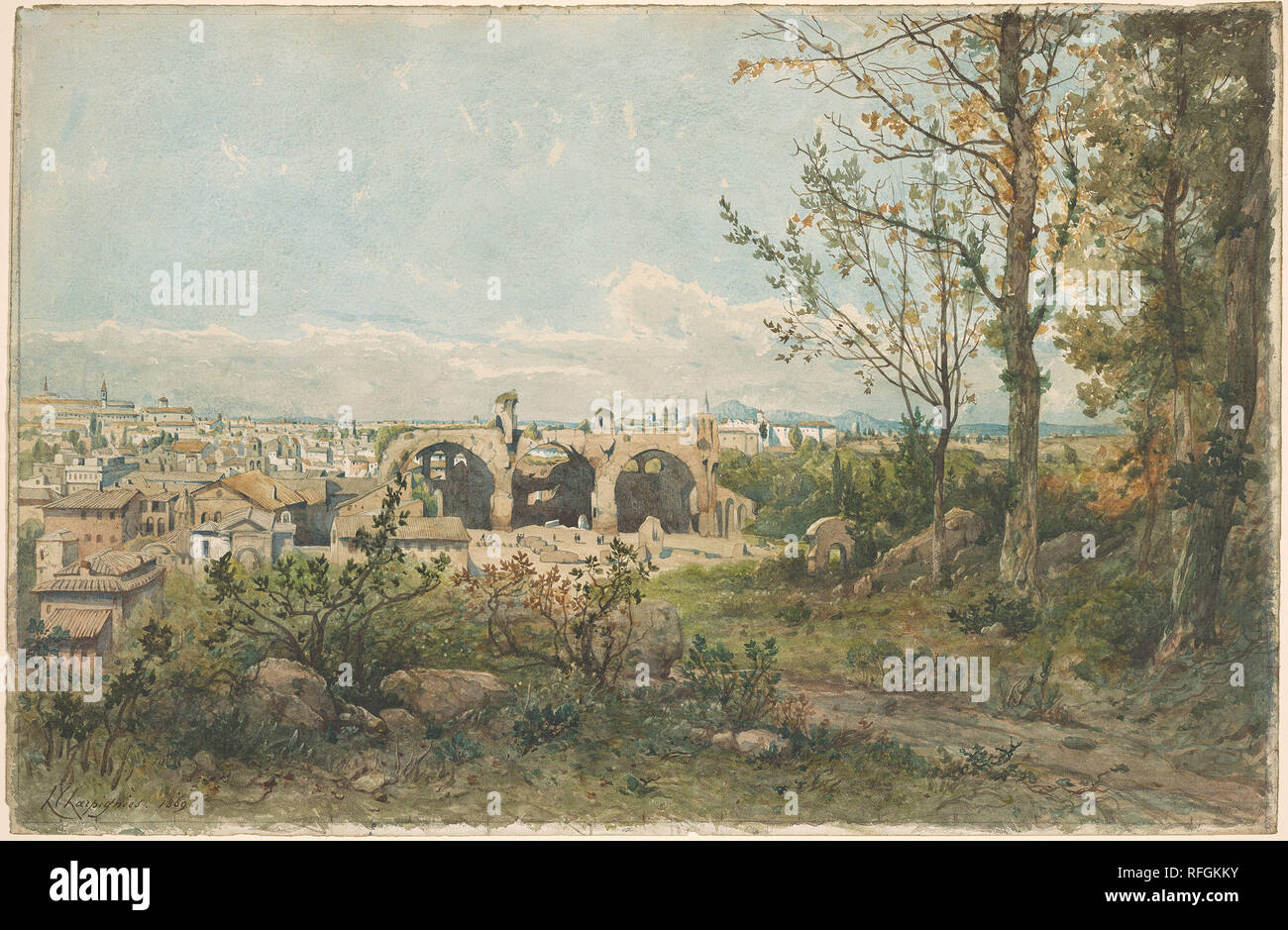 Henri Harpignies 1819-1916 View of Rome 1869.jpg - RFGKKY  - Stock Image
