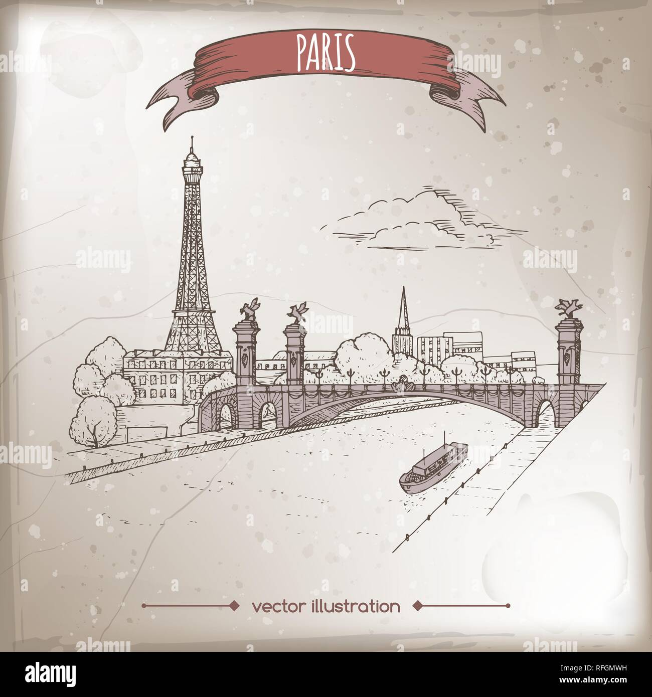 Vintage travel illustration with Eiffel tower and Pont Alexandre bridge in Paris, France. Hand drawn sketch. - Stock Vector