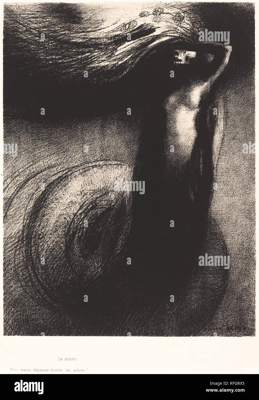 La Mort: Mon ironie depasse toutes les autres! (Death: My iron surpasses all others!). Dated: 1889. Medium: lithograph. Museum: National Gallery of Art, Washington DC. Author: Odilon Redon. - Stock Image