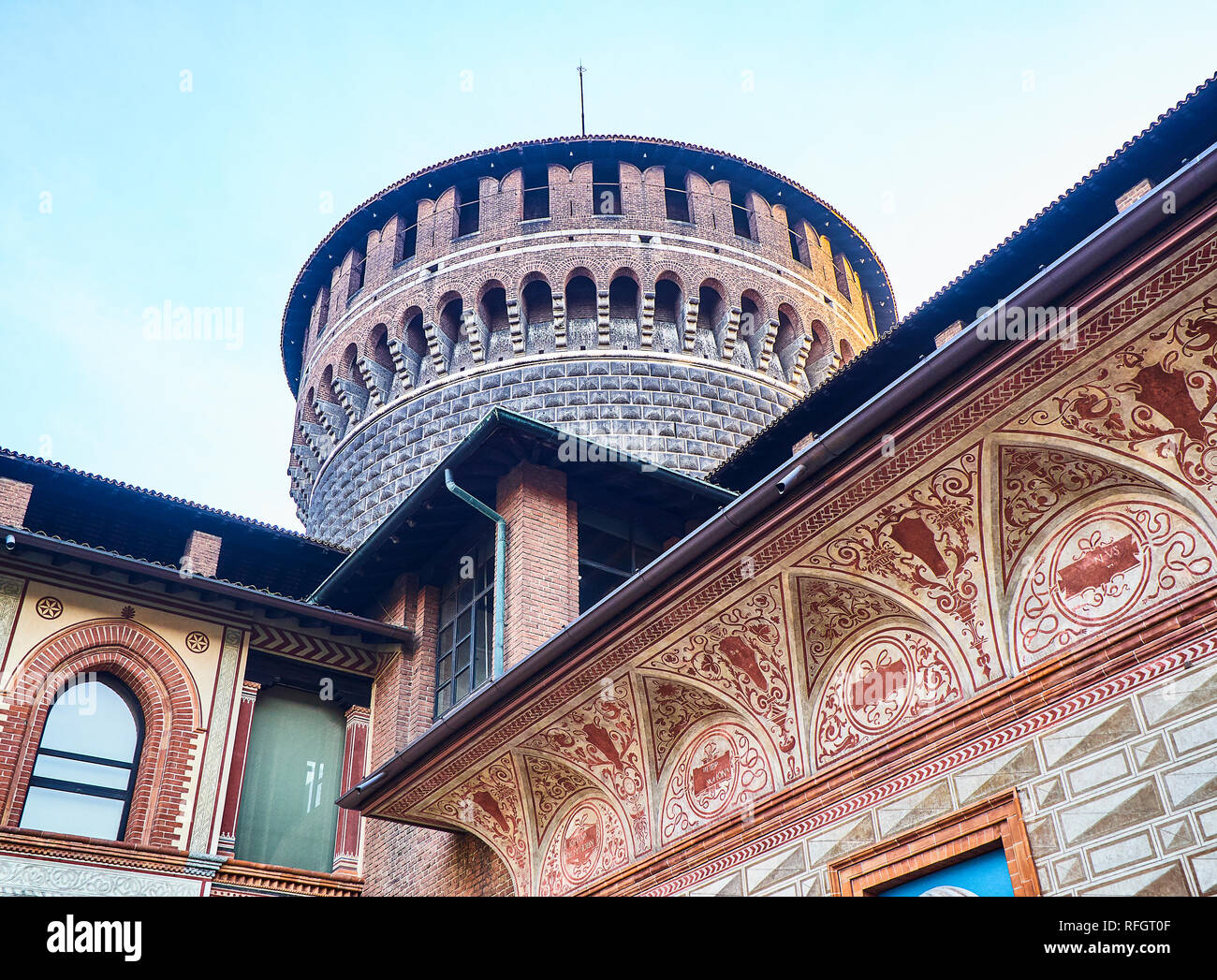 Torrione di Santo Spirito, Tower of the Holy Spirit of the Castello Sforzesco, Sforza Castle. Milan, Lombardy, Italy. - Stock Image