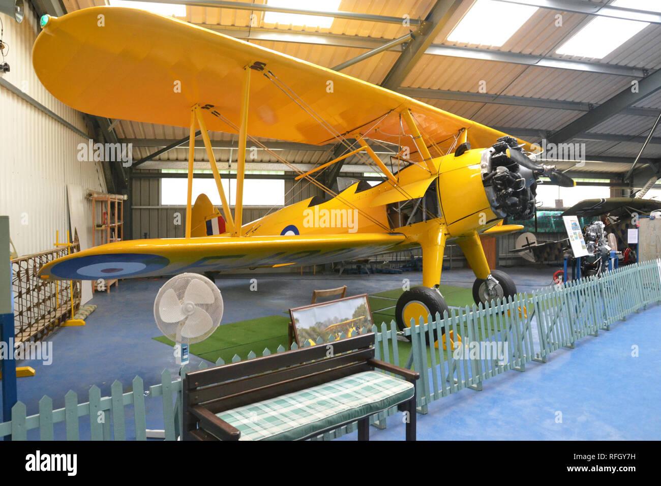 Boeing Stearman PT-27 Kaydet at the Norfolk and Suffolk Aviation Museum, Flixton, Suffolk, UK - Stock Image