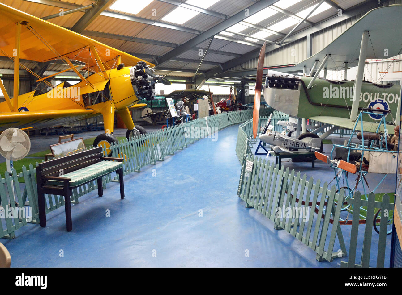 Boeing Stearman PT-27 Kaydet, and a Boulton and Paul P.6 at the Norfolk and Suffolk Aviation Museum, Flixton, Suffolk, UK - Stock Image