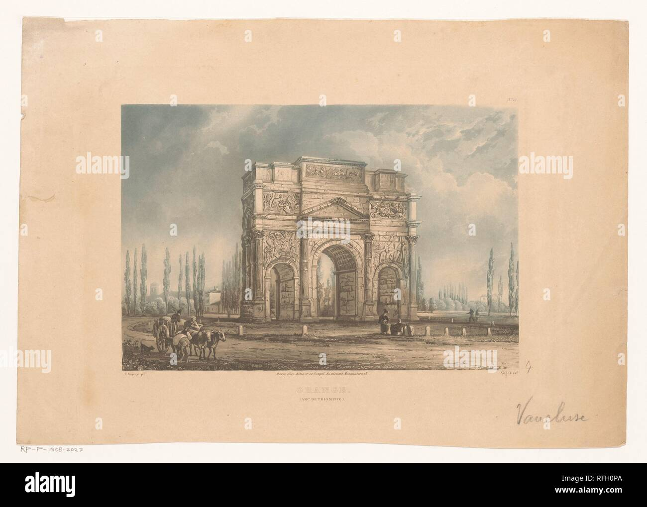 Landscape with the triumphal arch of Orange with travelers, Vogel (printmaker), after Nicolas Marie Joseph Chapuy, 1829 - 1840.jpg - RFH0PA 1RFH0PA - Stock Image