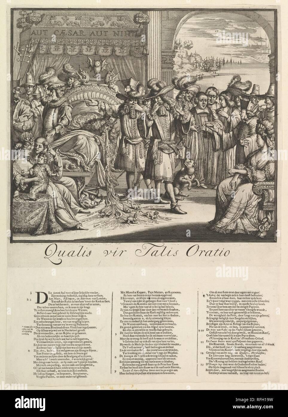 Qualis vir Talis Oratio. Artist: Romeyn de Hooghe (Dutch, Amsterdam 1645-1708 Haarlem). Dimensions: sheet: 21 1/4 x 15 1/2 in. (54 x 39.4 cm). Date: n.d.. Museum: Metropolitan Museum of Art, New York, USA. - Stock Image