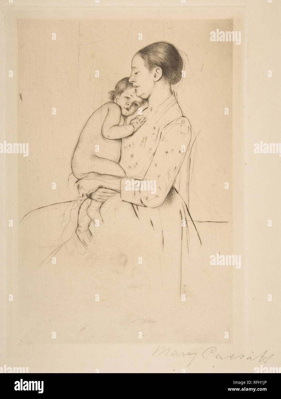 Quietude. Artist: Mary Cassatt (American, Pittsburgh, Pennsylvania 1844-1926 Le Mesnil-Théribus, Oise). Dimensions: plate: 10 3/16 x 7 in. (25.9 x 17.8 cm)  sheet: 15 1/16 x 11 in. (38.3 x 27.9 cm). Date: ca. 1891. Museum: Metropolitan Museum of Art, New York, USA. Stock Photo