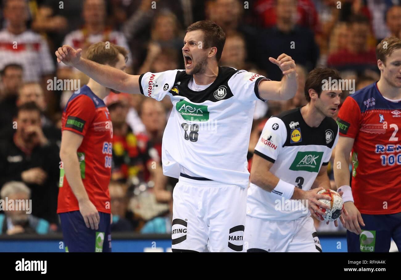 Hamburg, Deutschland. 25th Jan, 2019. firo: 25.01.2019, Handball: World Cup World Cup Semi Finals Semi Final Germany - Norway 25:31 gesture, Fabian Bohm | usage worldwide Credit: dpa/Alamy Live News Stock Photo