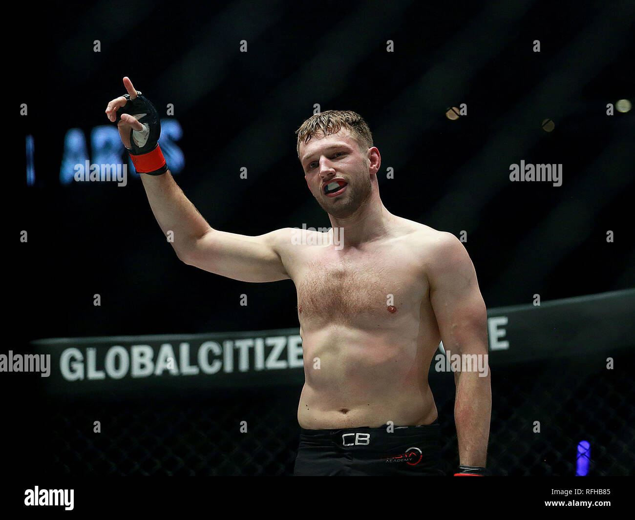 Pasay City, Philippines. 25th Jan, 2019. Reinier de Ridder of the Netherlands celebrates after winning against Fan Rong of China during their middleweight match in the One Championship in Pasay City, the Philippines, Jan. 25, 2019. De Ridder won via submission in round 1. Credit: Rouelle Umali/Xinhua/Alamy Live News - Stock Image