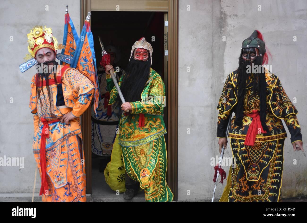 Qiannan, China's Guizhou Province. 25th Jan, 2019. Villagers rehearse for folk play performance celebrating the Spring Festival in Changchong Village of Longchang Township in Bouyei-Miao Autonomous Prefecture of Qiannan, southwest China's Guizhou Province, Jan. 25, 2019. Credit: Cai Xingwen/Xinhua/Alamy Live News Stock Photo