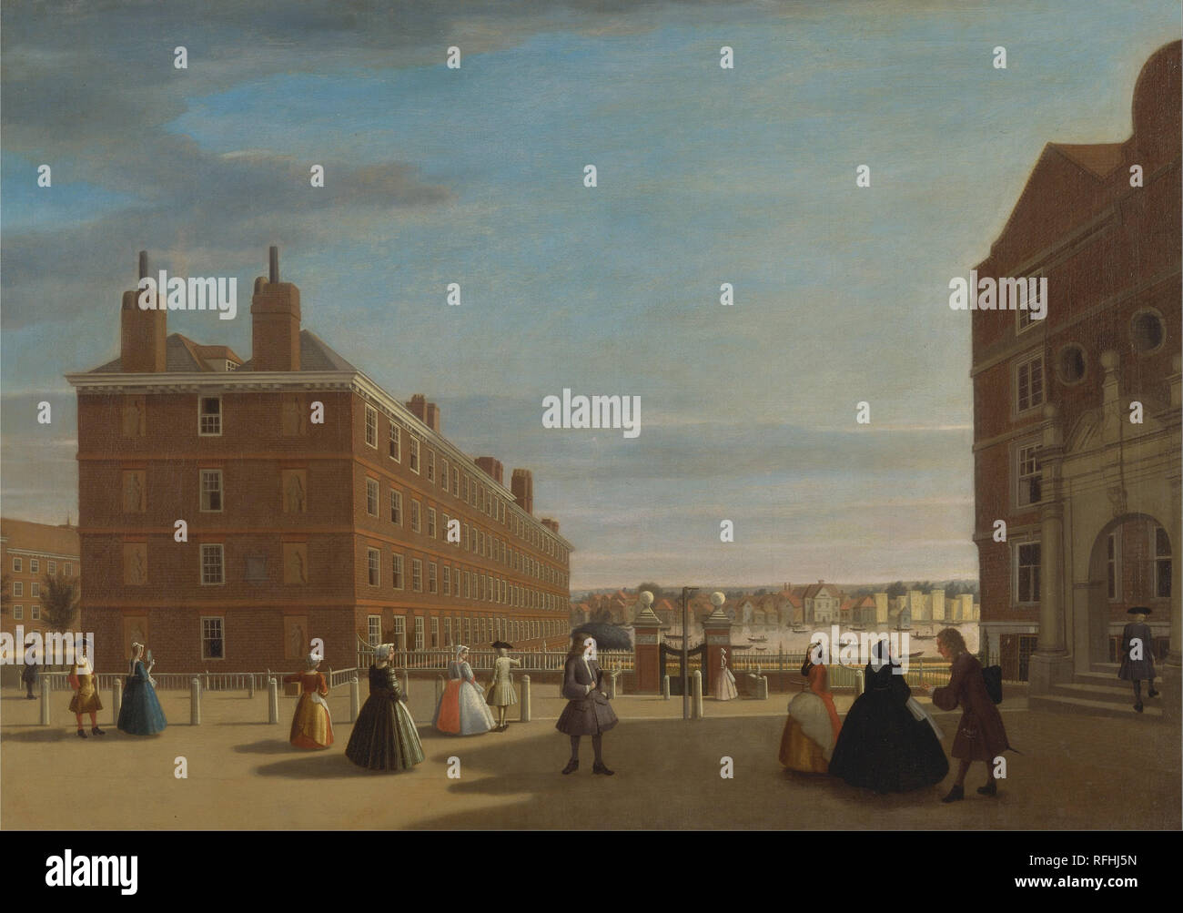 The Paper Buildings, Inner Temple, London. Date/Period: Ca. 1725. Painting. Oil on canvas. Height: 876 mm (34.48 in); Width: 1,251 mm (49.25 in). Author: UNKNOWN ARTIST. - Stock Image