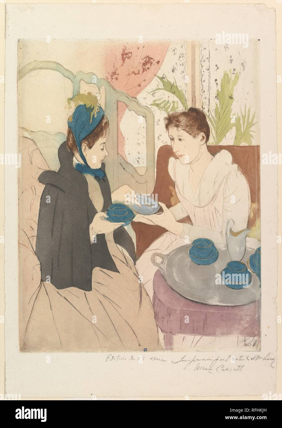 Afternoon Tea Party. Artist: Mary Cassatt (American, Pittsburgh, Pennsylvania 1844-1926 Le Mesnil-Théribus, Oise). Dimensions: plate: 13 5/8 x 10 1/2 in. (34.6 x 26.7 cm)  sheet: 17 1/16 x 11 3/4 in. (43.3 x 29.8 cm). Date: 1890-91. Museum: Metropolitan Museum of Art, New York, USA. Stock Photo