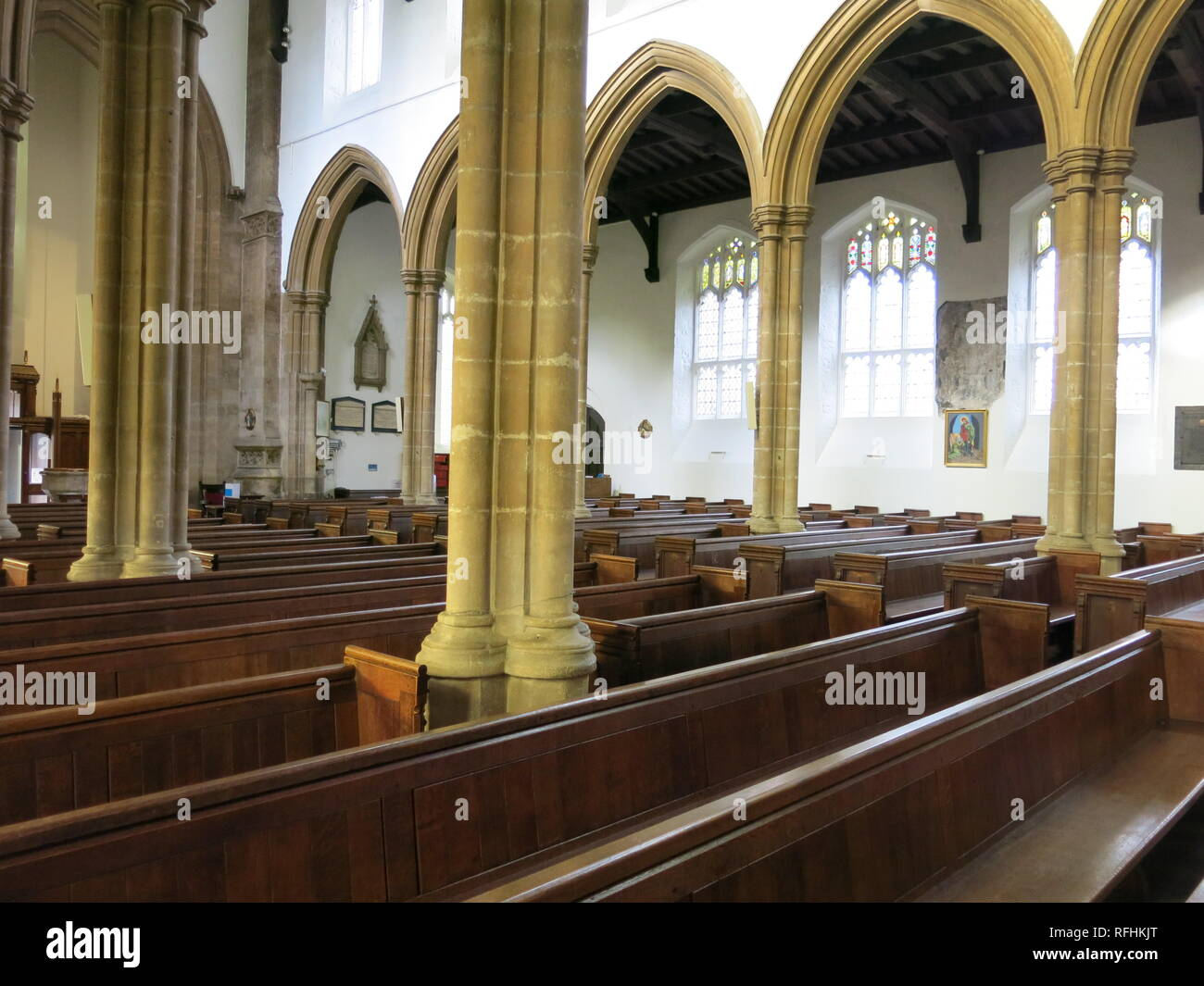 Interior view of the Anglican church of St Peter and St Paul, Grade 1 listed and the oldest building in Kettering, Northamptonshire. - Stock Image