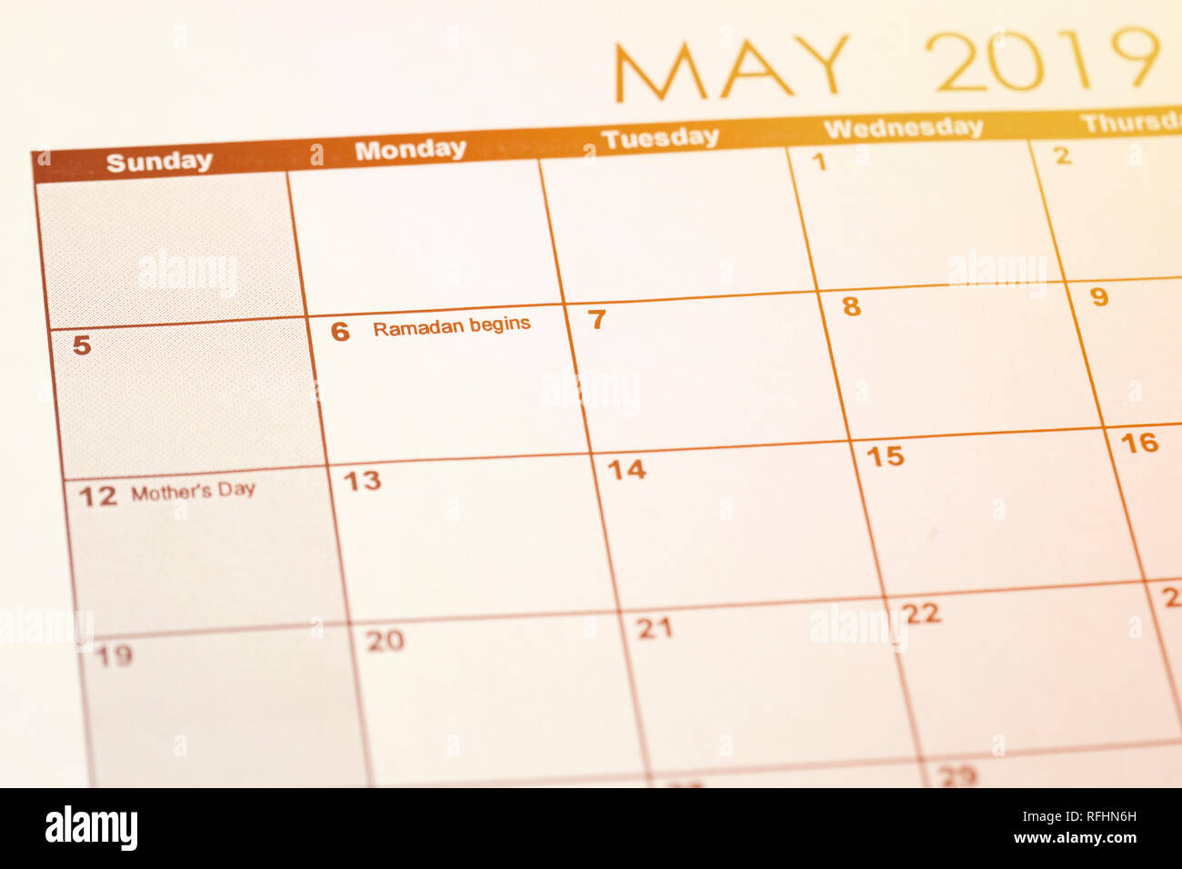 Calendar of May month 2019 - The date of beginning of
