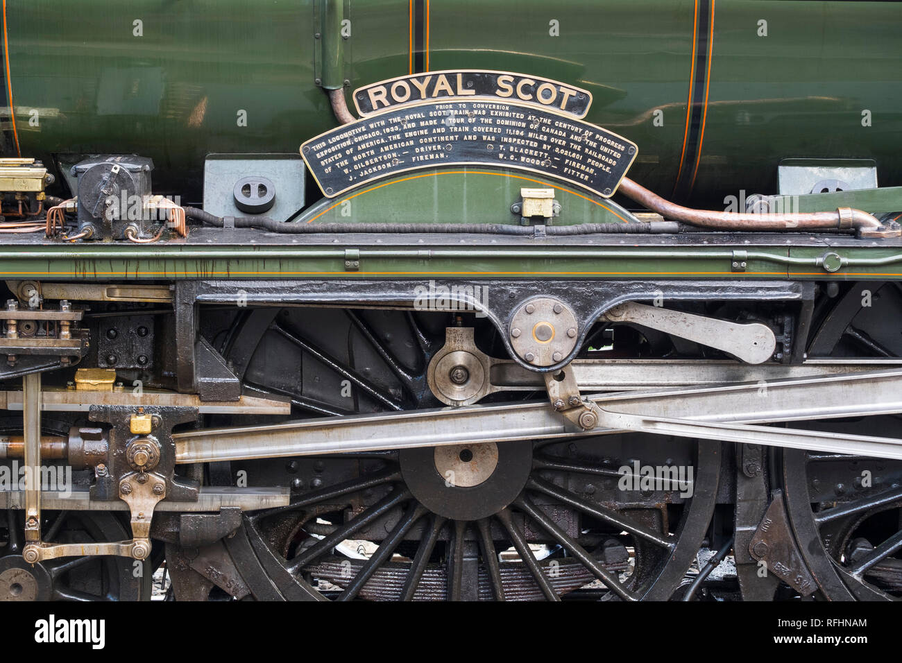 Wheels and connecting rods of the Royal Scot locomotive pictured at Highley station on the Severn Valley Railway, Shropshire, England, UK - Stock Image