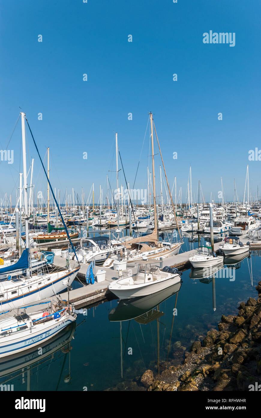 The marina at Ballard, Washington. - Stock Image