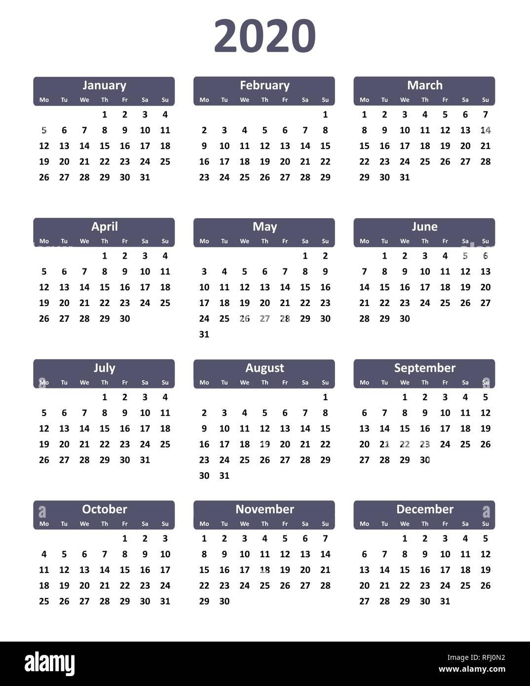 Calendar Year 2020.Simple Editable Vector Calendar For Year 2020 Stock Vector Art