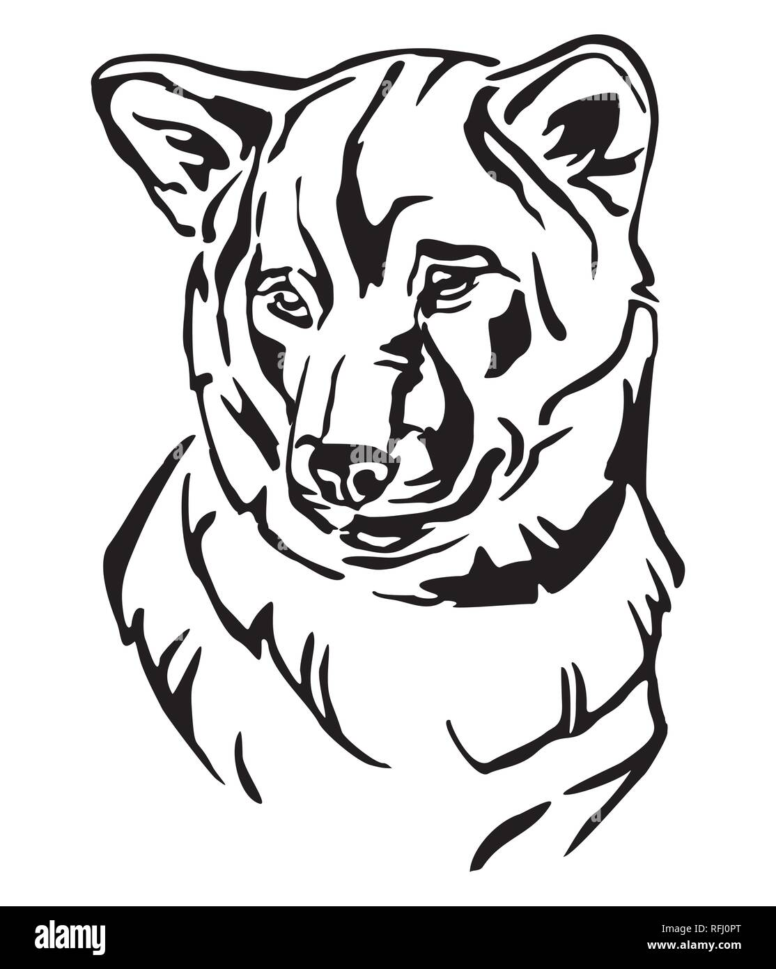 2dc1cf0c34a9 Decorative outline portrait of Dog Shiba Inu, vector illustration in black  color isolated on white