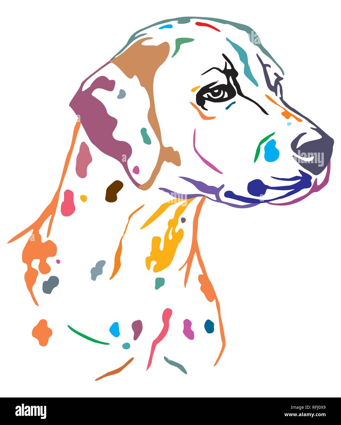 Colorful decorative outline portrait of Dog Dalmatian looking in profile, vector illustration in different colors isolated on white background. Image  - Stock Vector