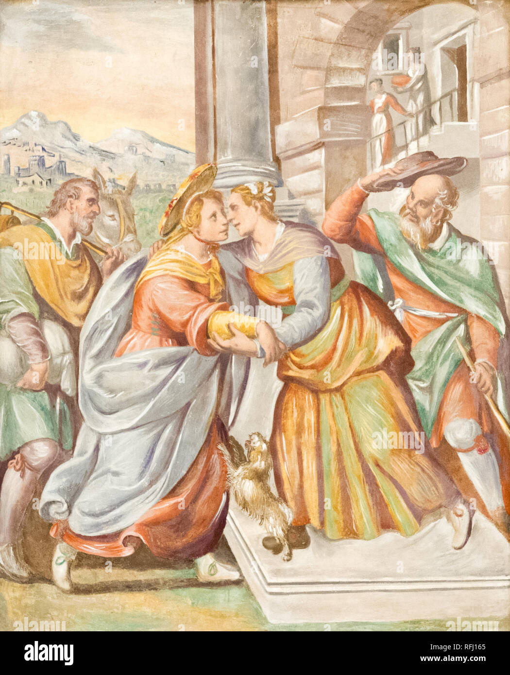 The fresco of the visitation of Virgin Mary to Elizabeth in the Salesian church 'Santa Maria delle Grazie' - Holy Mary of the Grace. - Stock Image