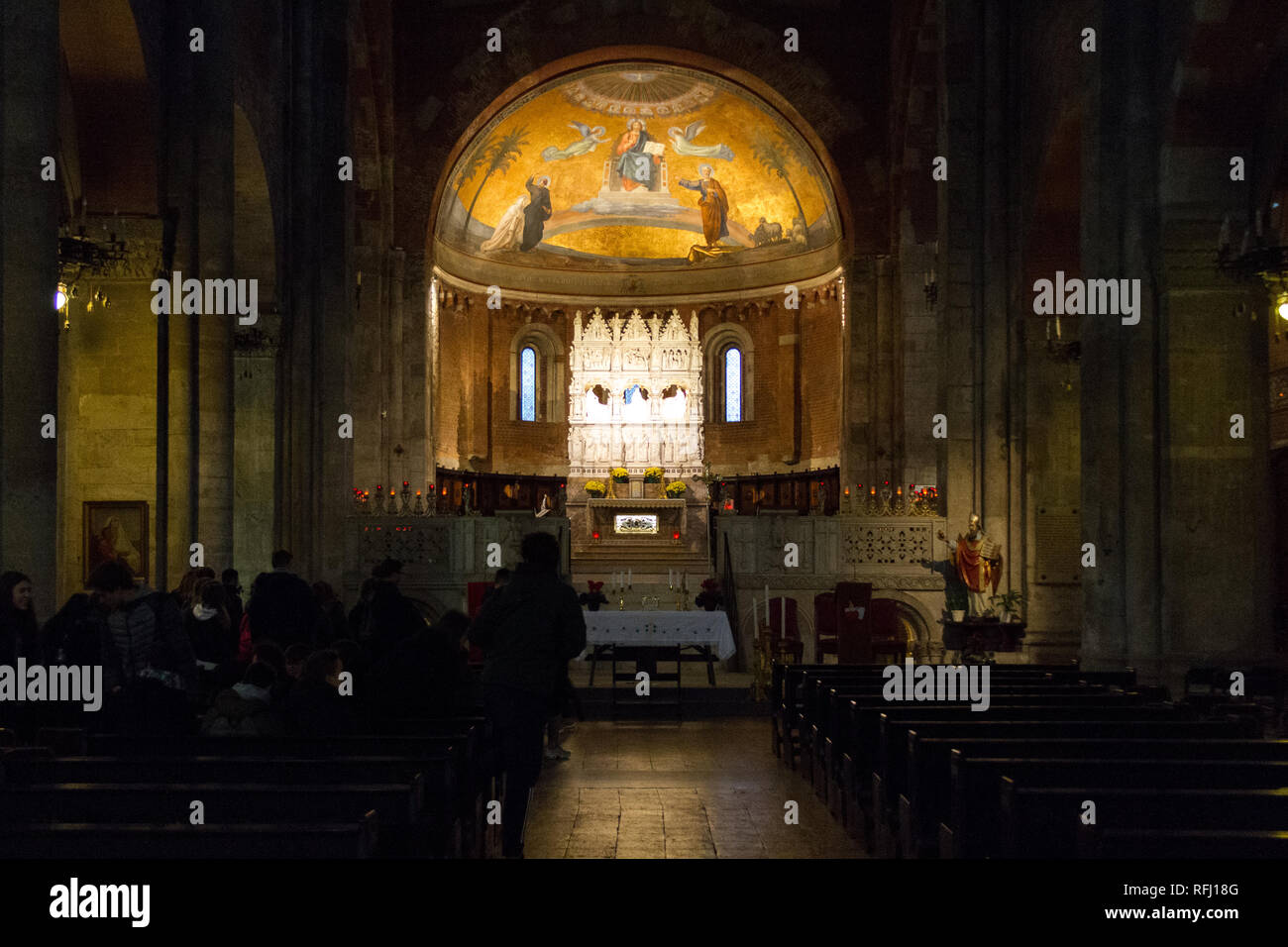 The remains of Saint Augustine of Hippo in a reliquary in the Basilica of San Pietro in Ciel d'Oro (Saint Peter in Heaven Clothed in Gold) in Pavia. Stock Photo