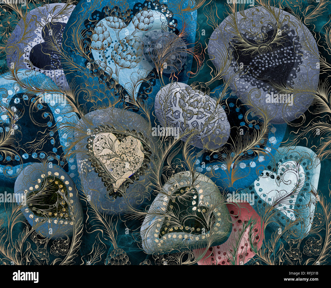 DIGITAL ART: Valentine's card design (Pebble art by Ruth Dawson) - Stock Image