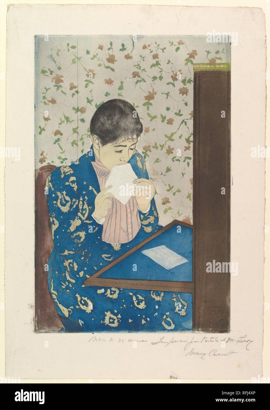 The Letter. Artist: Mary Cassatt (American, Pittsburgh, Pennsylvania 1844-1926 Le Mesnil-Théribus, Oise). Dimensions: plate: 13 5/8 x 8 15/16 in. (34.6 x 22.7 cm)  sheet: 17 x 11 3/4 in. (43.2 x 29.8 cm). Date: 1890-91. Museum: Metropolitan Museum of Art, New York, USA. Stock Photo