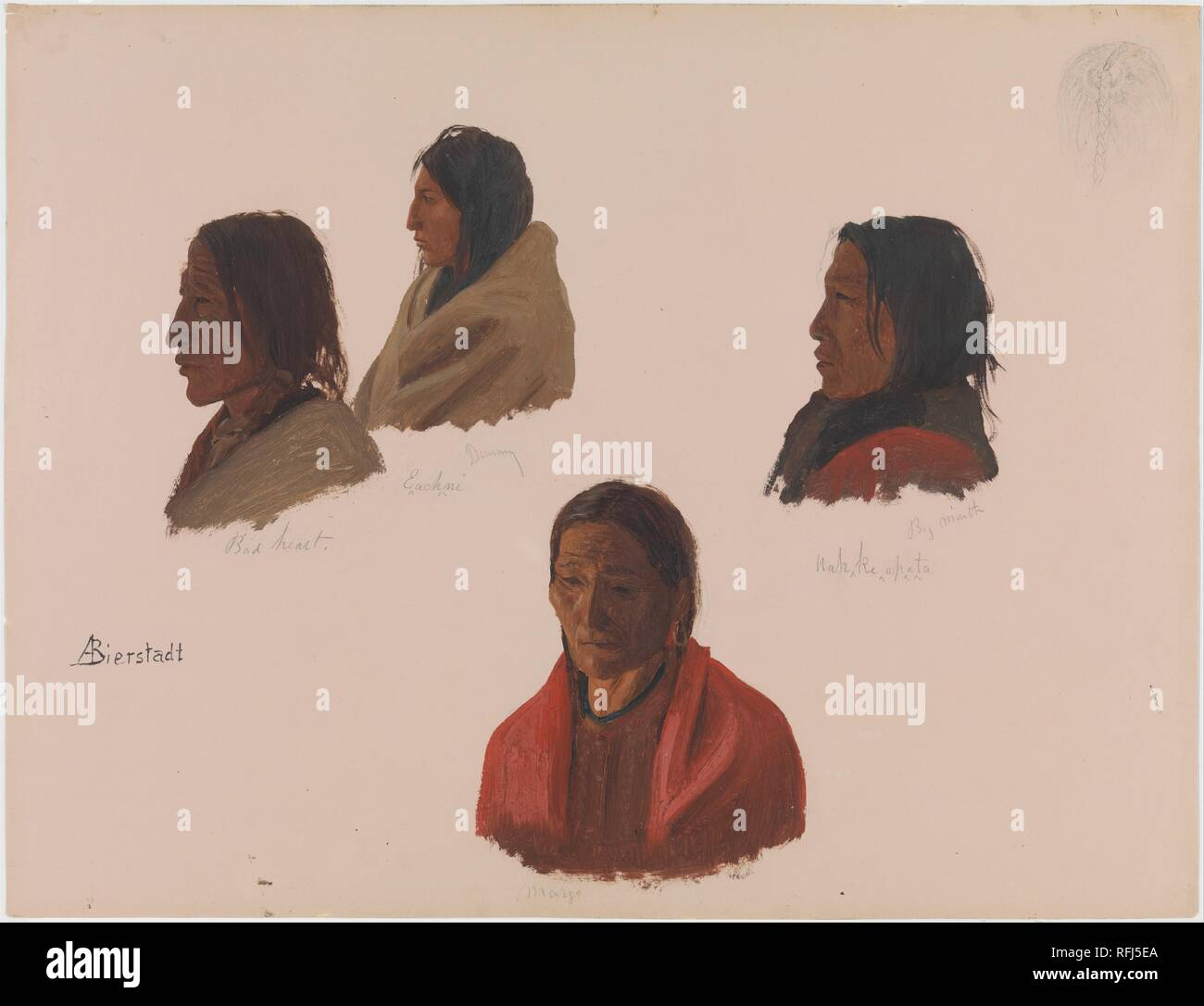Studies of Indian Chiefs Made at Fort Laramie. Artist: Albert Bierstadt (American, Solingen 1830-1902 New York). Dimensions: 13 x 16 7/8 in. (33 x 42.9 cm). Date: ca. 1859.  Bierstadt arrived at Fort Laramie, in present-day Wyoming, as a member of the expedition to the western portion of the Nebraska Territory with Colonel Frederic W. Lander in June 1859, during a time of tense relations between the Western Sioux (Teton) and the United States government. Bierstadt made vivid field sketches of the Indians he encountered there, including this powerful depiction of the heads of four chiefs. The a Stock Photo