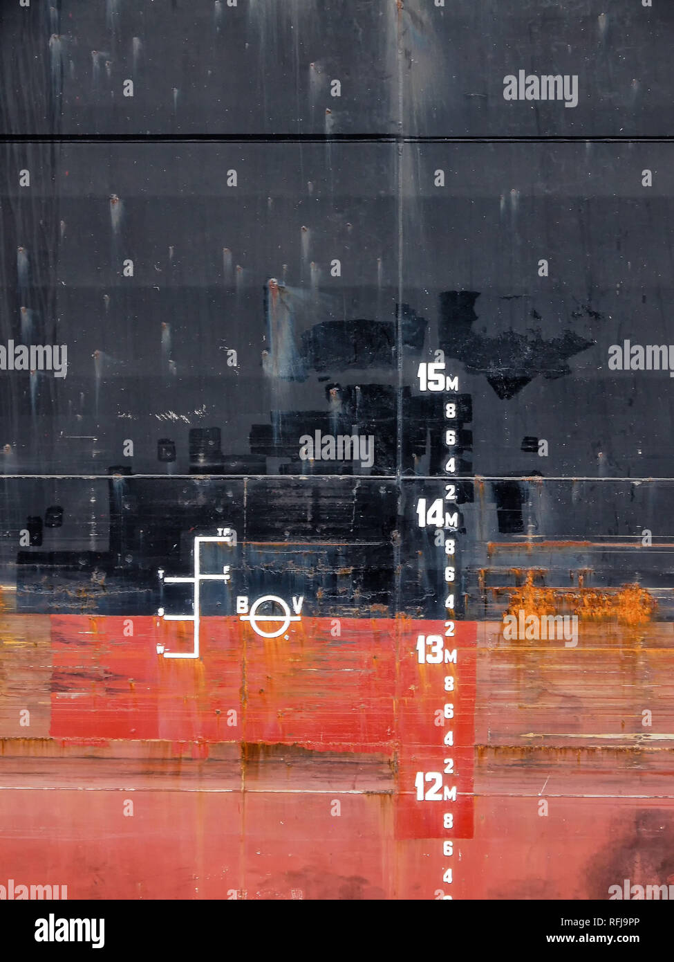 Close-up of the draft marks of a ship - Stock Image