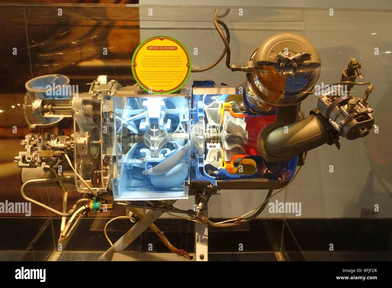 Auxiliary power unit (cutaway), AlliedSignal Aerospace - Stock Photo