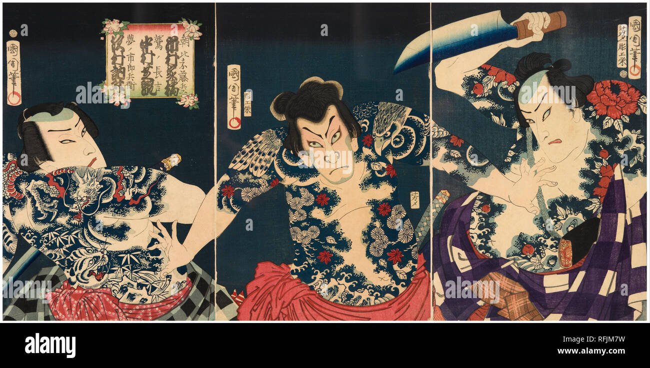 The kabuki actors (right to left) Ichimura Kakitsu IV as Asahina Tobei, Nakamura Shikan IV as Washi no Chokichi and Sawamura Tosshi II as Yume no Ichirobei, IV/1868. Date/Period: 1868. Print. Nishiki-e, oban triptych, colour woodblock print. Height: 37 mm (1.45 in); Width: 25 mm (0.98 in). Author: TOYOHARA KUNICHIKA. - Stock Image