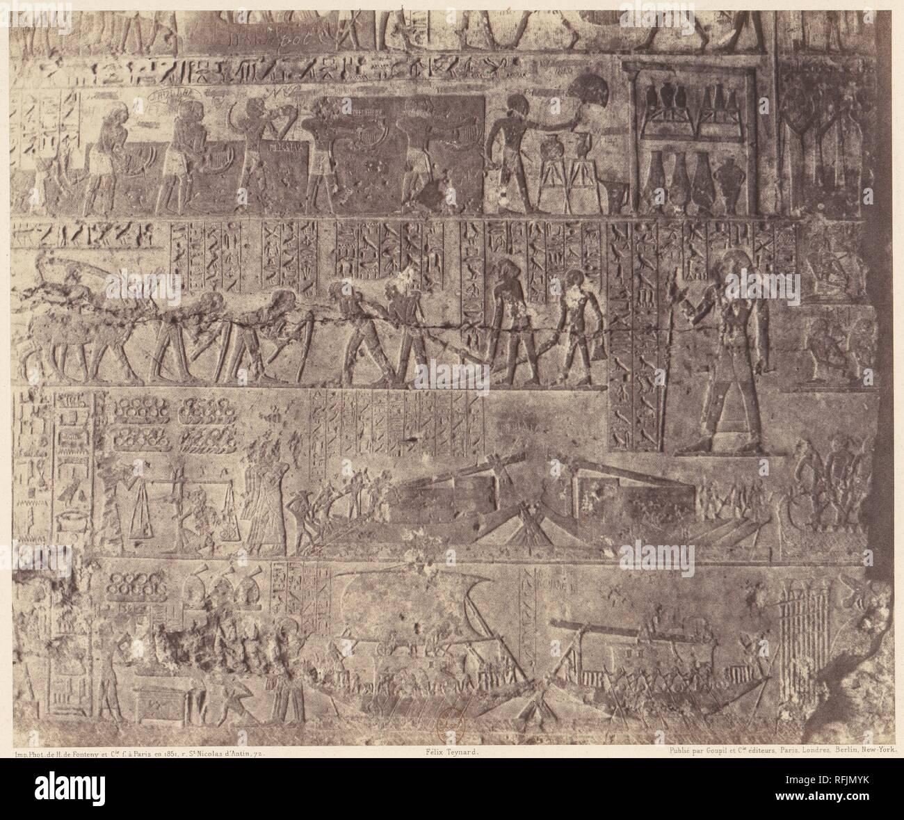 El-Kab (Éléthya), Architecture Hypogéenne - Tombeau de Phapé - Sculptures Pientes. Artist: Félix Teynard (French, 1817-1892). Dimensions: 25.2 x 30.2 cm. (9  15/16  x 11  7/8  in.). Printer: Imprimerie Photographique de H. de Fonteny et Cie. Date: 1851-52, printed 1853-54. Museum: Metropolitan Museum of Art, New York, USA. - Stock Image