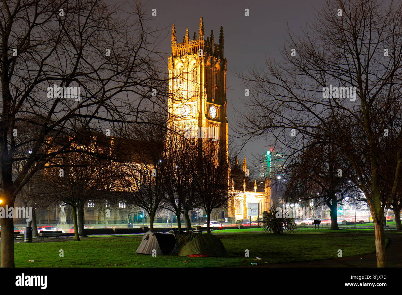 Leeds Minster at night. - Stock Image