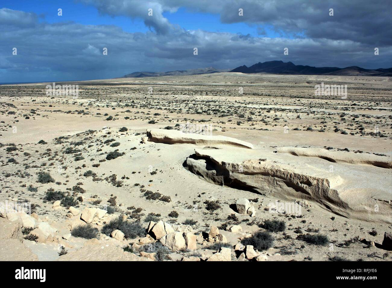 The walking sand dunes of the Jandia peninsula near Costa Calma on the island of Fuerteventura, Spain. Stock Photo