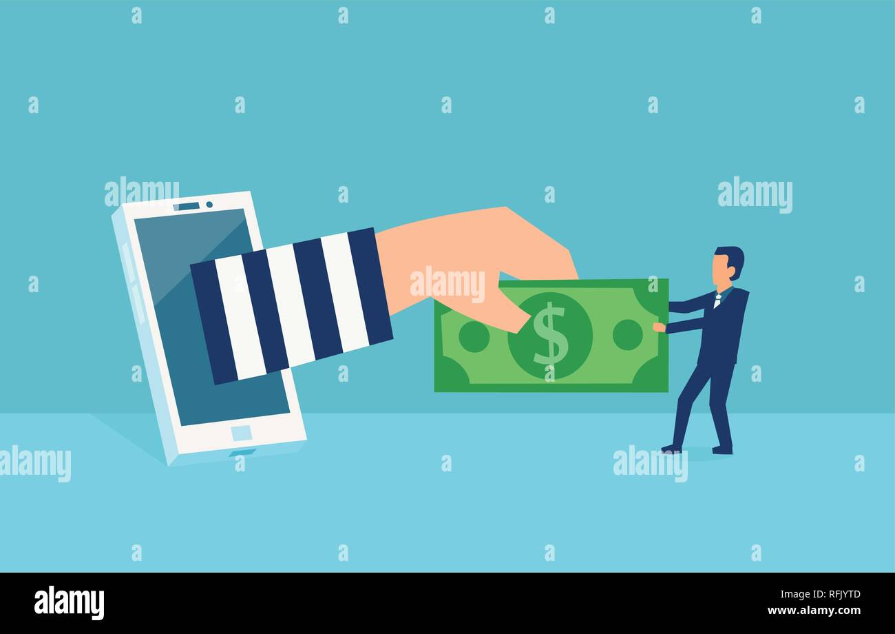 Cyber crime and online theft concept. Vector of a virtual thief breaking into mobile internet account of a businessman stealing money from him - Stock Vector