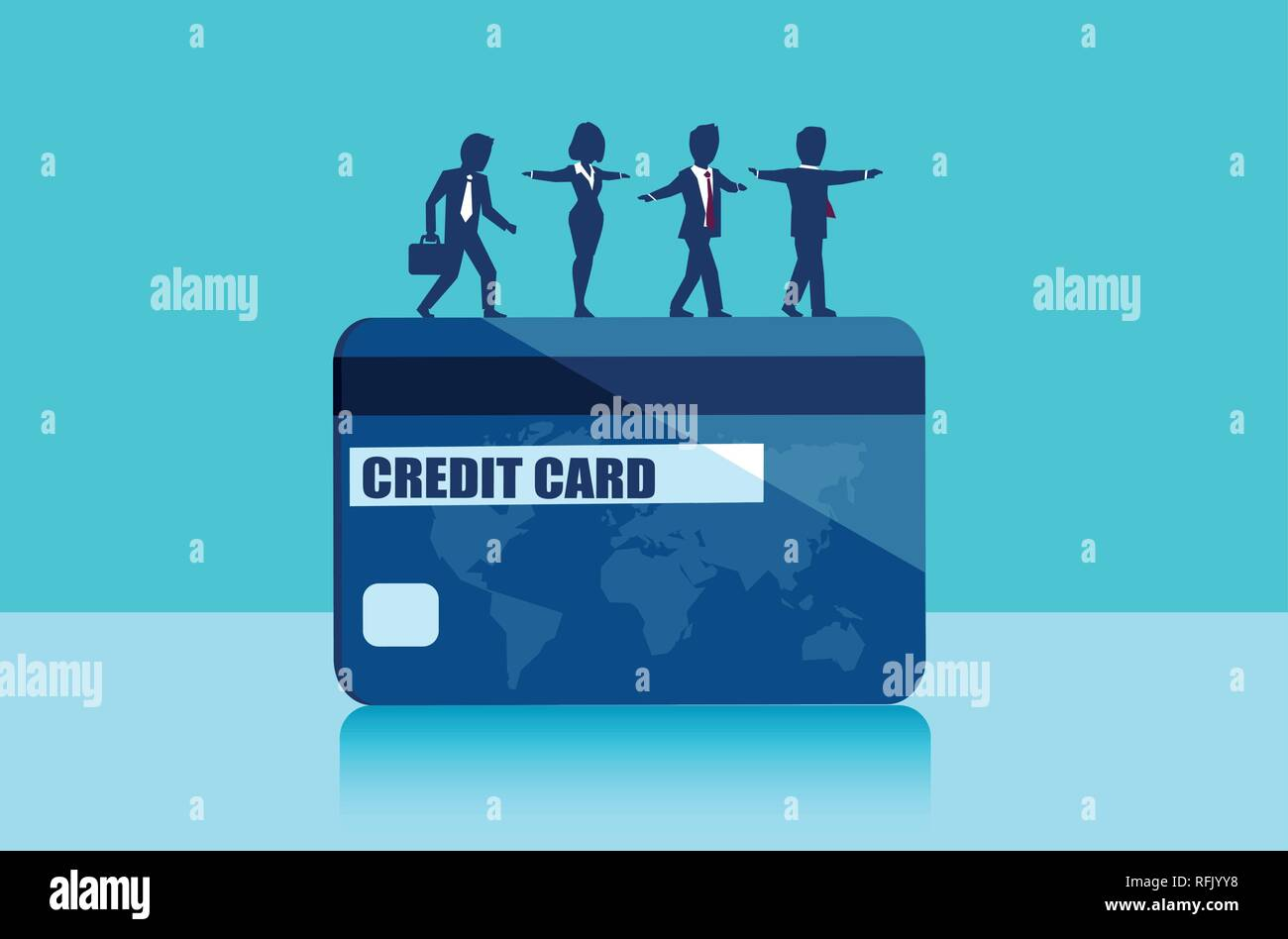 Vector of businesspeople balancing on the edge of credit card. Money borrowing financial risks concept - Stock Vector