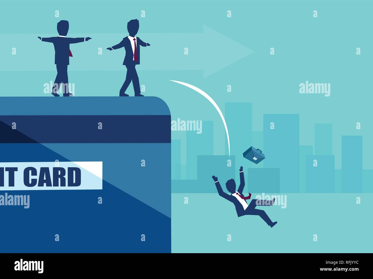 Vector of businesspeople balancing on the edge of credit card falling in default. Money borrowing financial risks concept - Stock Vector