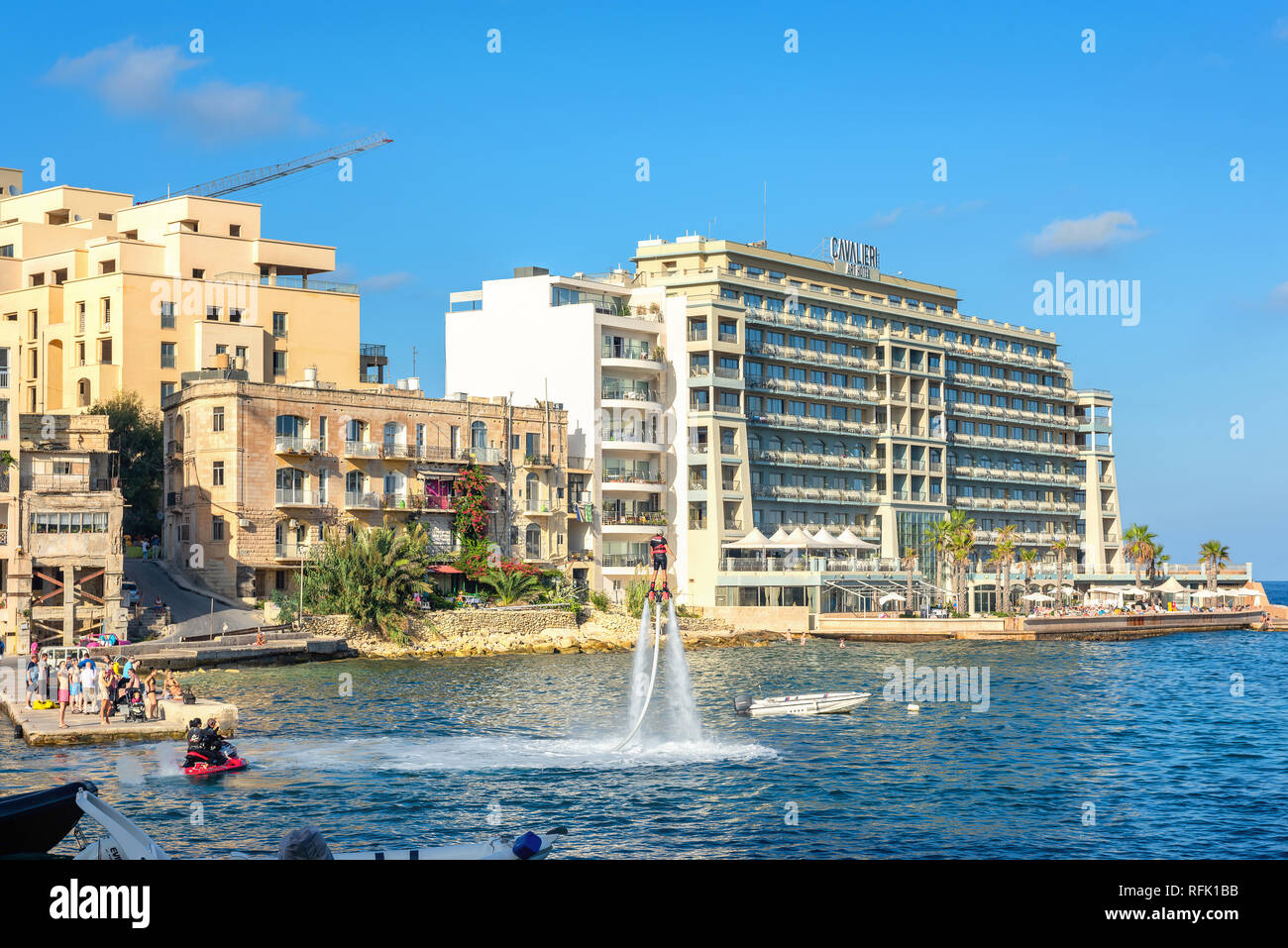 New popular type of extreme water sport called flyboard at St. Julians bay. Malta - Stock Image