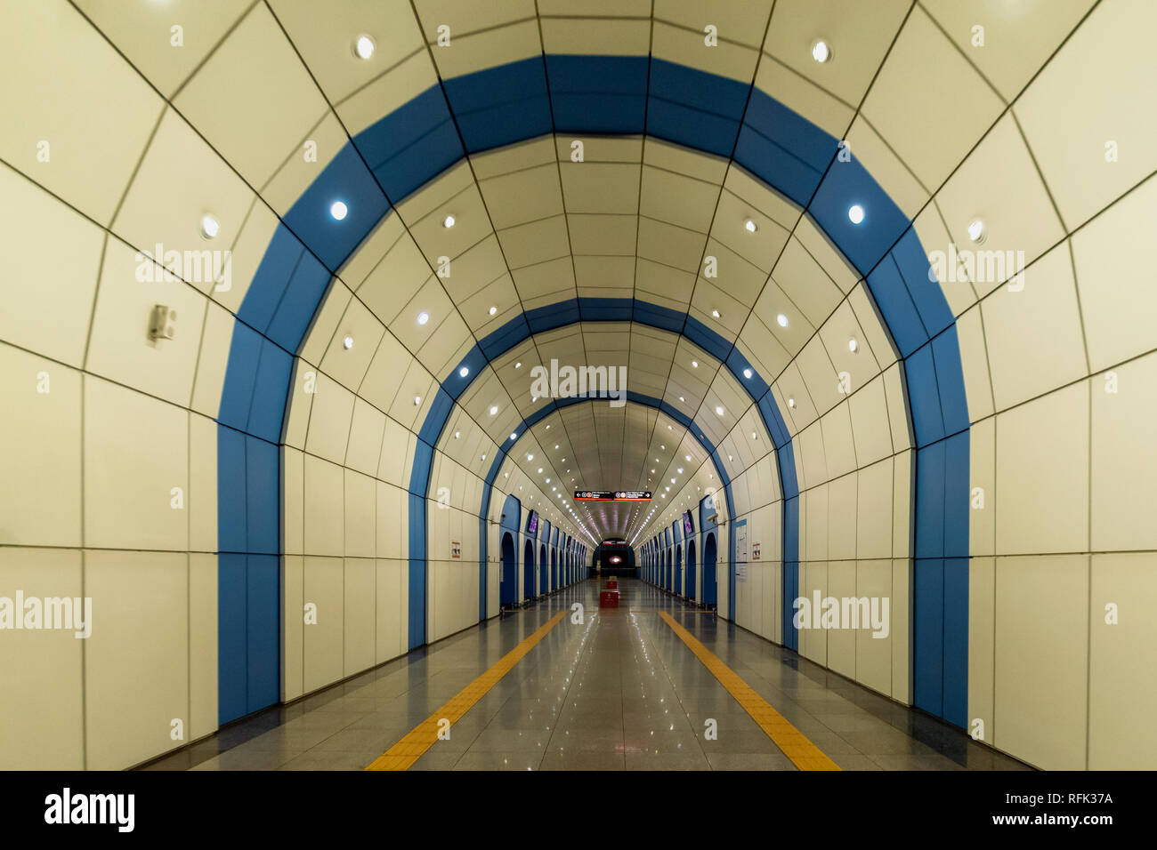 Vanishing point 2, Baikonur Metro Station, Alamty, Kazakhstan - Stock Image