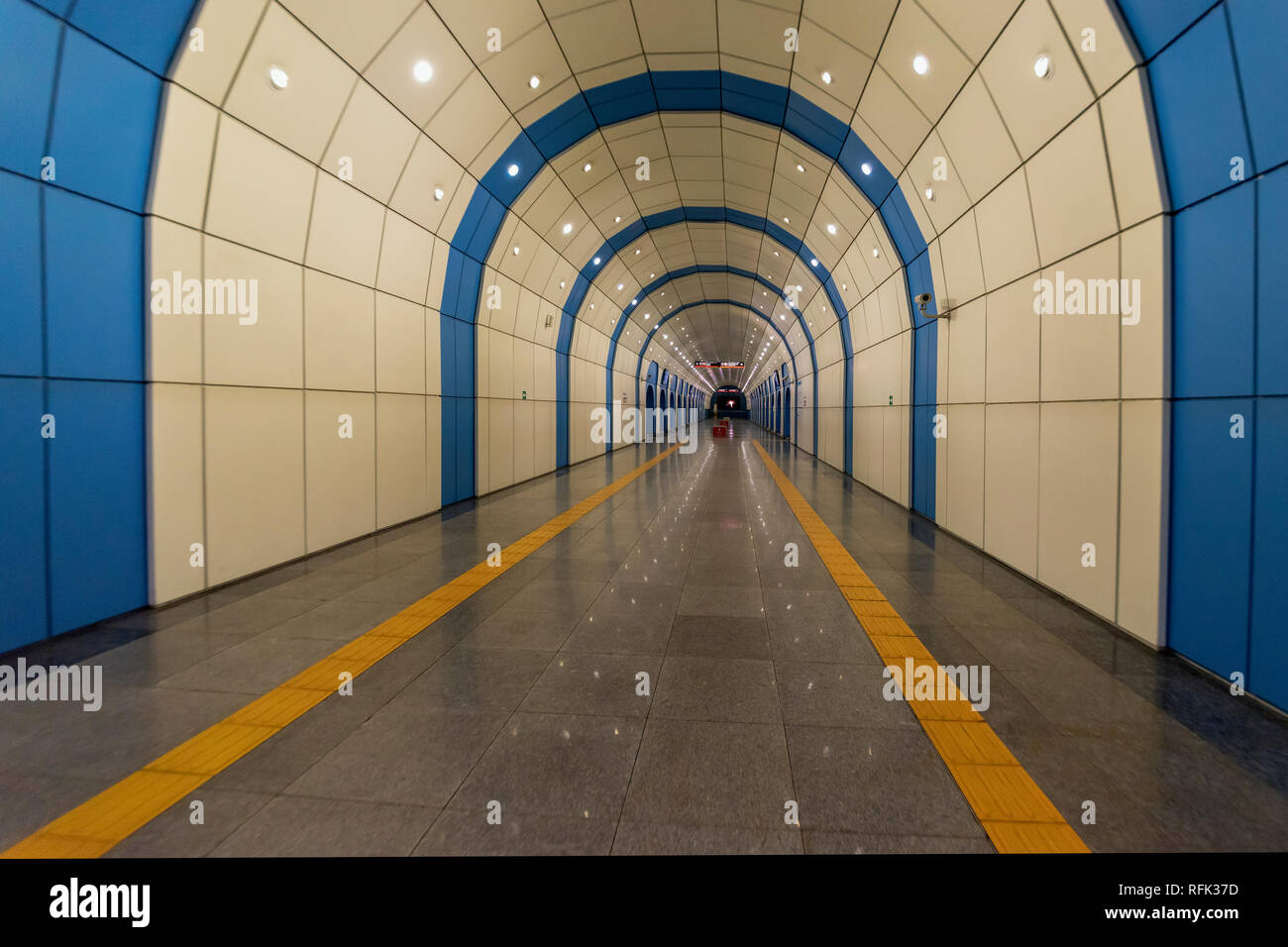 Vanishing point, Baikonur Metro Station, Alamty, Kazakhstan - Stock Image