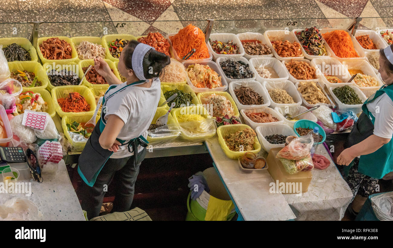 Local Kazakh food for sale at Green (Zelyony) Bazaar, Almaty, Kazakhstan Stock Photo