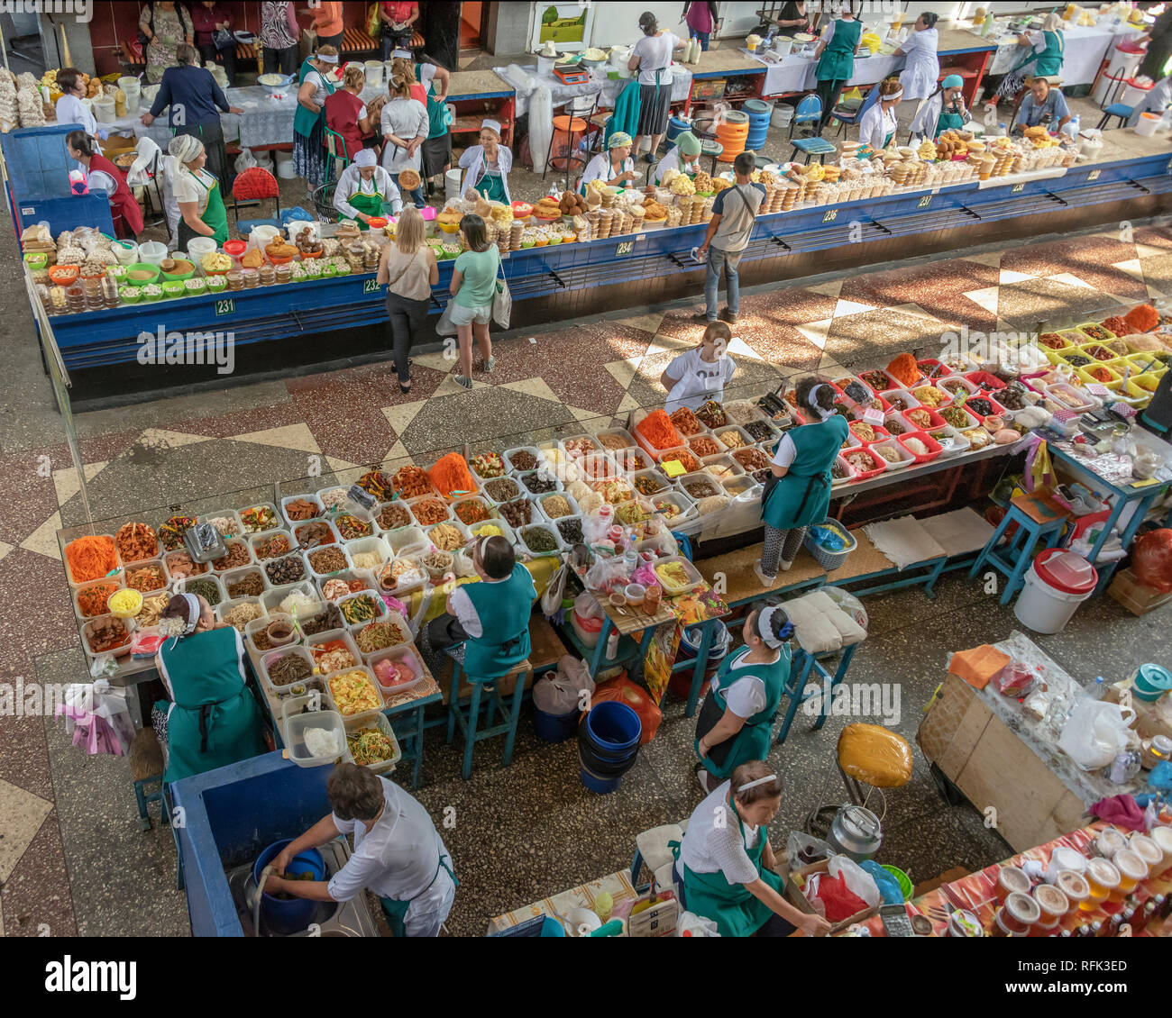 Colourful local food dishes for sale, Green (Zelyony) Bazaar, Almaty, Kazakhstan Stock Photo