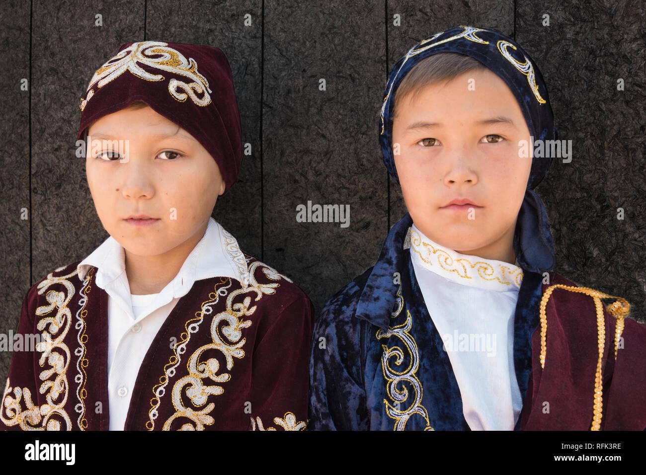 Pair of Kazakh boys, Almaty, Kazakhstan - Stock Image