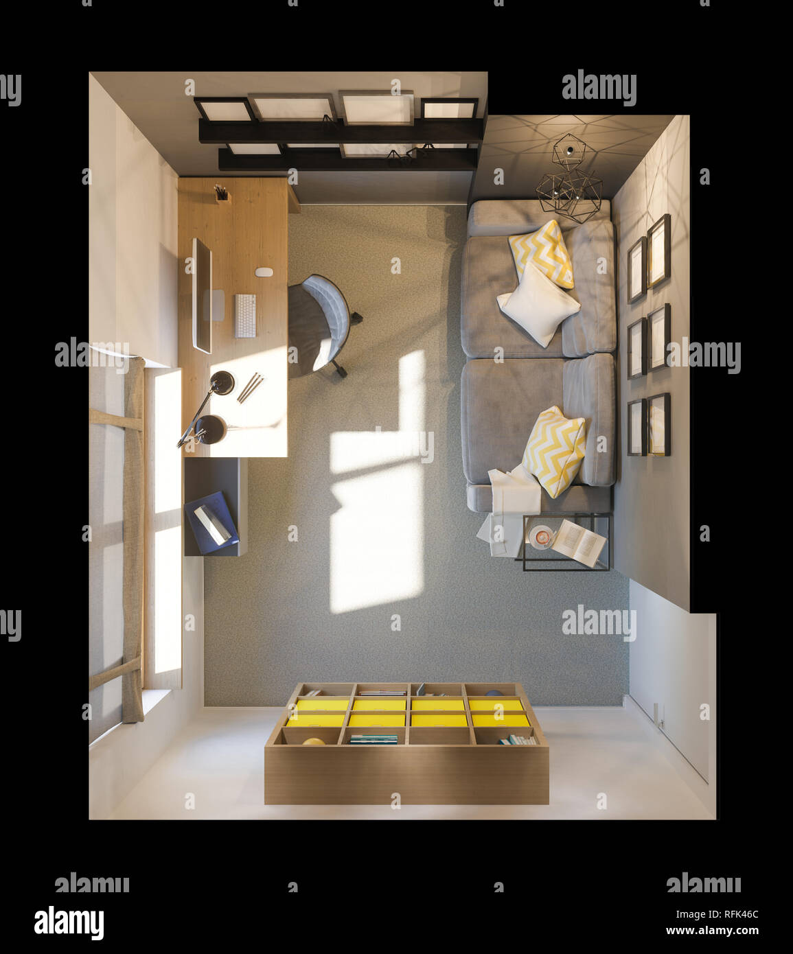 3d Illustration Of Interior Design Plan For Home Office The