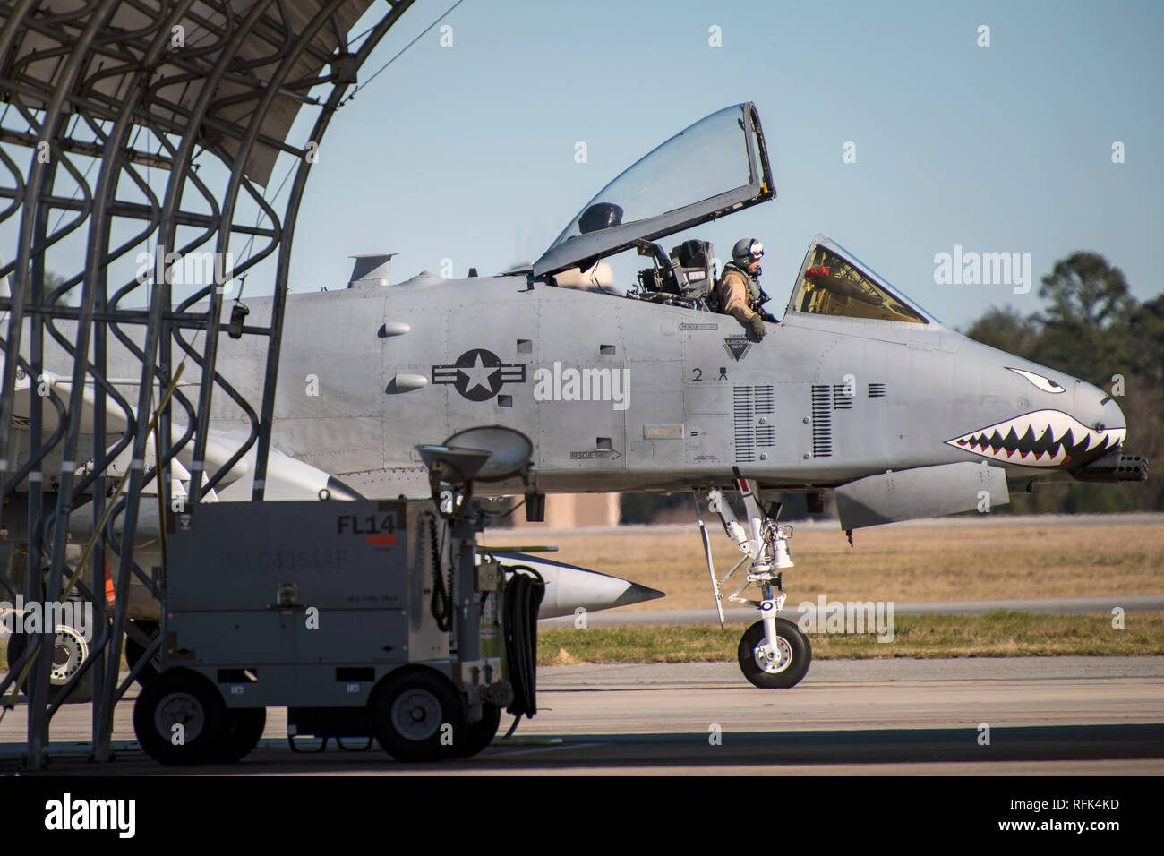 An A-10C Thunderbolt II from the 75th Fighter Squadron at Moody Air Force Base, Ga., returns from supporting Operation Freedom's Sentinel, Jan. 25, 2019. The A-10C Thunderbolt II, which has an increased loiter time and weapons capabilities, deployed to southwest Asia in support of ground forces. (U.S. Air Force photo By Airman First Class Eugene Oliver) Stock Photo