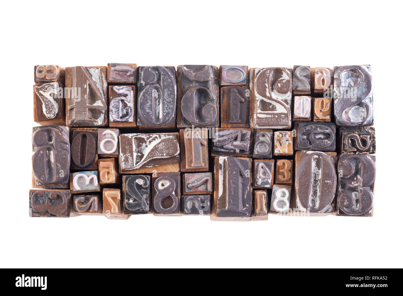 Old wooden block numbers isolated on white background - Stock Image