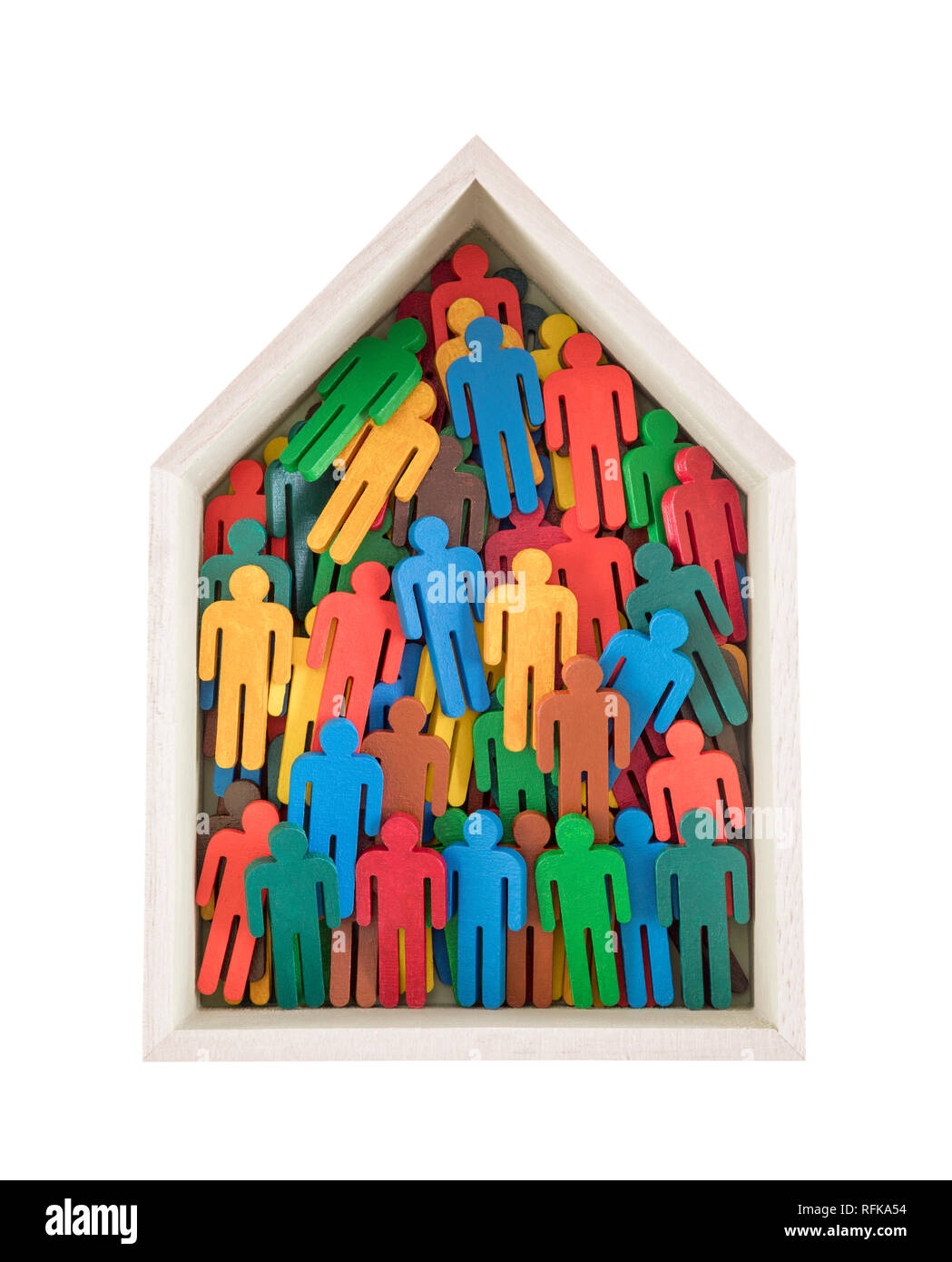 Wooden house with colorful painted group of people figures isolated on white background - Stock Image