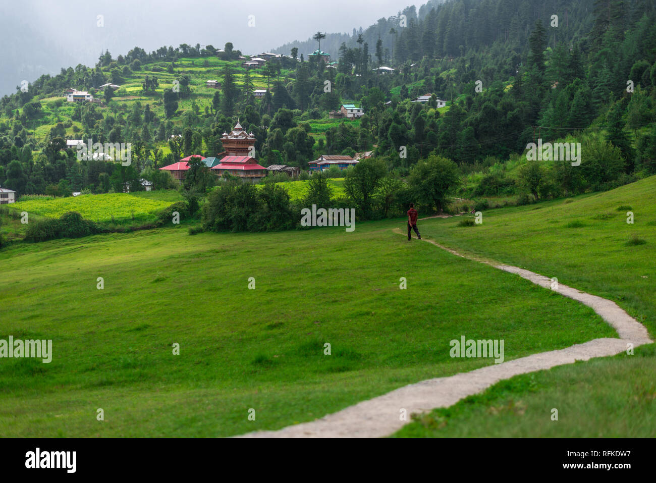 Photo of Temple in Green meadows in himalayas, Great Himalayan National Park, Sainj Valley, Himachal Pradesh, India - Stock Image