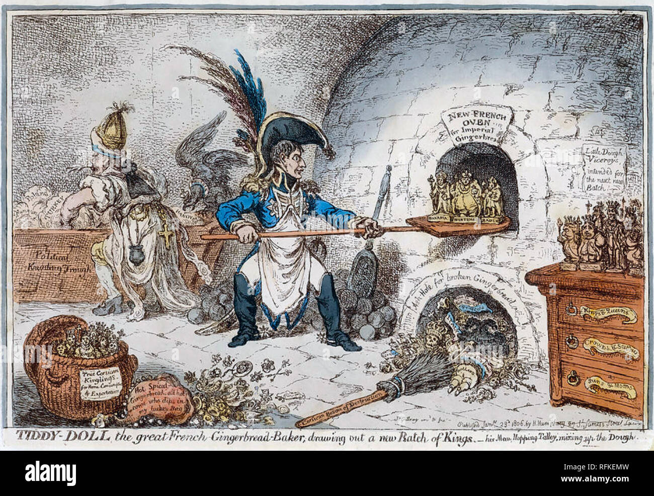 NAPOLEON AS THE GINGER BREAD MAKER  A George Cruickshank cartoon about 1814 showing Napoleon creating new rulers for his conquered territories. - Stock Image