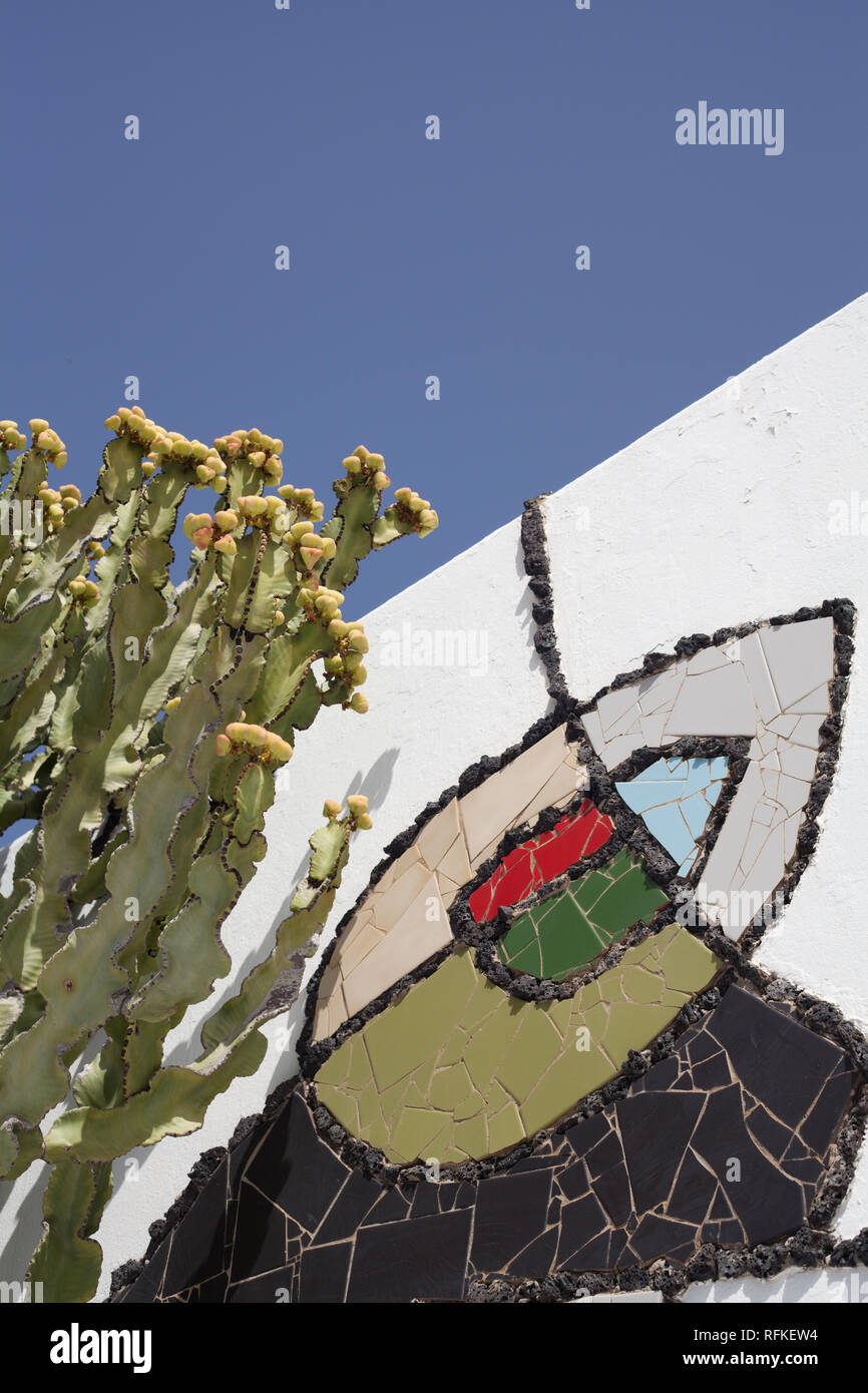 Cesar Manrique Foundation garden where the artist lived now an art gallery, Taro de Tahiche, Canary Island, Lanzarote - Stock Image